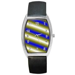 Color Diagonal Gradient Stripes Barrel Style Metal Watch