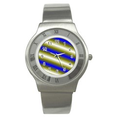 Color Diagonal Gradient Stripes Stainless Steel Watch