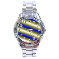 Color Diagonal Gradient Stripes Stainless Steel Analogue Watch