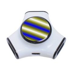 Color Diagonal Gradient Stripes 3-Port USB Hub