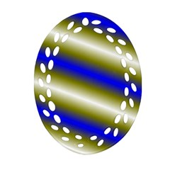 Color Diagonal Gradient Stripes Oval Filigree Ornament (Two Sides)