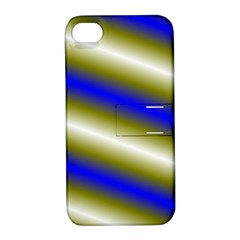Color Diagonal Gradient Stripes Apple Iphone 4/4s Hardshell Case With Stand
