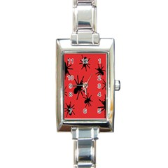 Illustration With Spiders Rectangle Italian Charm Watch