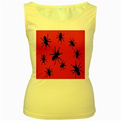 Illustration With Spiders Women s Yellow Tank Top