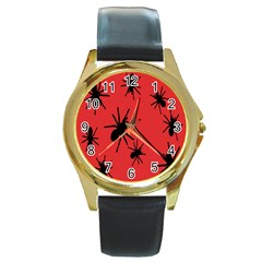 Illustration With Spiders Round Gold Metal Watch