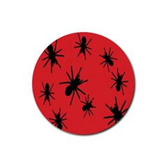 Illustration With Spiders Rubber Coaster (Round)