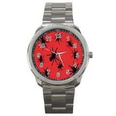 Illustration With Spiders Sport Metal Watch