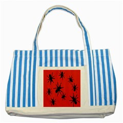 Illustration With Spiders Striped Blue Tote Bag