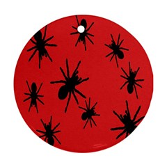 Illustration With Spiders Round Ornament (two Sides)