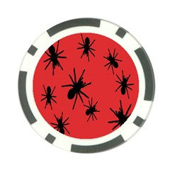 Illustration With Spiders Poker Chip Card Guard