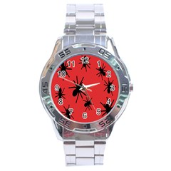 Illustration With Spiders Stainless Steel Analogue Watch