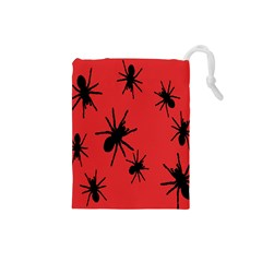 Illustration With Spiders Drawstring Pouches (Small)