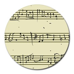 Music Notes On A Color Background Round Mousepads