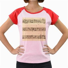 Music Notes On A Color Background Women s Cap Sleeve T-Shirt