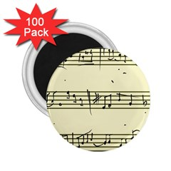 Music Notes On A Color Background 2 25  Magnets (100 Pack)