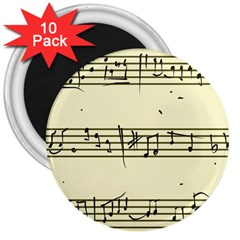 Music Notes On A Color Background 3  Magnets (10 Pack)