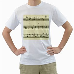 Music Notes On A Color Background Men s T-Shirt (White) (Two Sided)