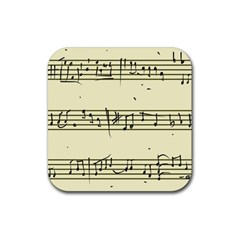 Music Notes On A Color Background Rubber Square Coaster (4 pack)