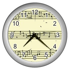 Music Notes On A Color Background Wall Clocks (silver)