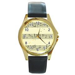 Music Notes On A Color Background Round Gold Metal Watch