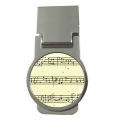Music Notes On A Color Background Money Clips (Round)