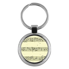 Music Notes On A Color Background Key Chains (round)