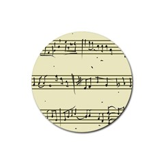 Music Notes On A Color Background Rubber Round Coaster (4 pack)