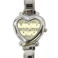 Music Notes On A Color Background Heart Italian Charm Watch
