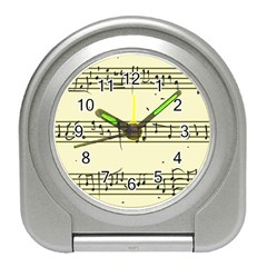 Music Notes On A Color Background Travel Alarm Clocks