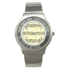 Music Notes On A Color Background Stainless Steel Watch
