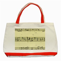 Music Notes On A Color Background Classic Tote Bag (Red)