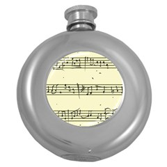 Music Notes On A Color Background Round Hip Flask (5 Oz)