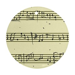 Music Notes On A Color Background Round Ornament (two Sides)
