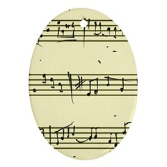 Music Notes On A Color Background Oval Ornament (Two Sides)