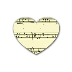 Music Notes On A Color Background Rubber Coaster (heart)