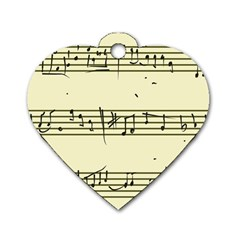 Music Notes On A Color Background Dog Tag Heart (two Sides)