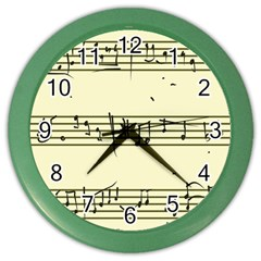 Music Notes On A Color Background Color Wall Clocks