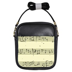 Music Notes On A Color Background Girls Sling Bags