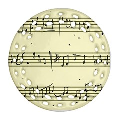 Music Notes On A Color Background Ornament (Round Filigree)