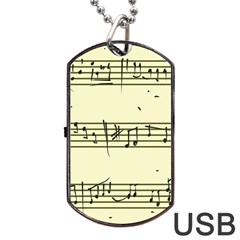 Music Notes On A Color Background Dog Tag USB Flash (Two Sides)
