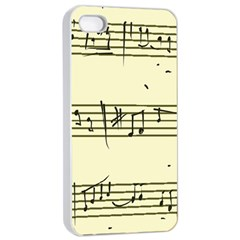 Music Notes On A Color Background Apple iPhone 4/4s Seamless Case (White)