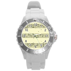 Music Notes On A Color Background Round Plastic Sport Watch (l)