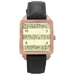 Music Notes On A Color Background Rose Gold Leather Watch