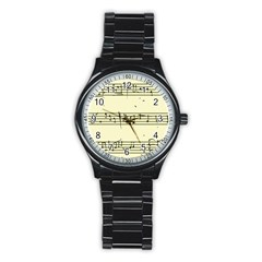 Music Notes On A Color Background Stainless Steel Round Watch