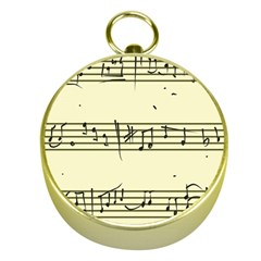 Music Notes On A Color Background Gold Compasses
