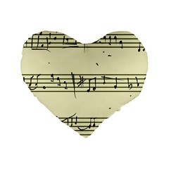 Music Notes On A Color Background Standard 16  Premium Flano Heart Shape Cushions