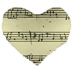 Music Notes On A Color Background Large 19  Premium Flano Heart Shape Cushions