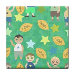 Football Kids Children Pattern Tile Coasters
