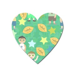 Football Kids Children Pattern Heart Magnet