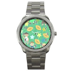 Football Kids Children Pattern Sport Metal Watch